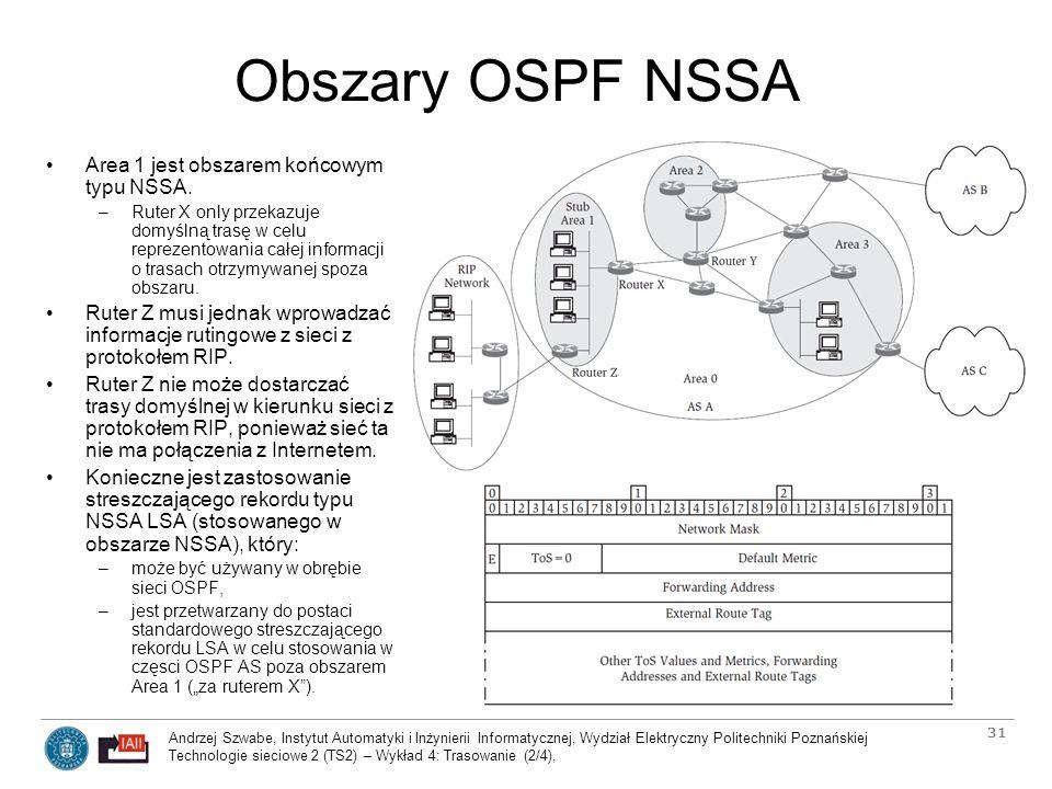 Obszary OSPF NSSA Area 1 jest obszarem końcowym typu NSSA.