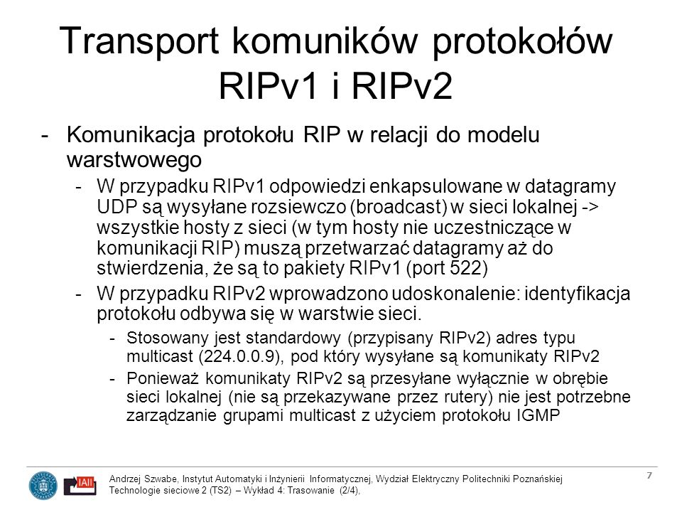 Transport komuników protokołów RIPv1 i RIPv2