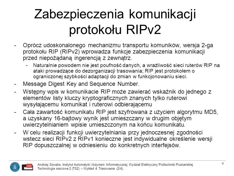 Zabezpieczenia komunikacji protokołu RIPv2