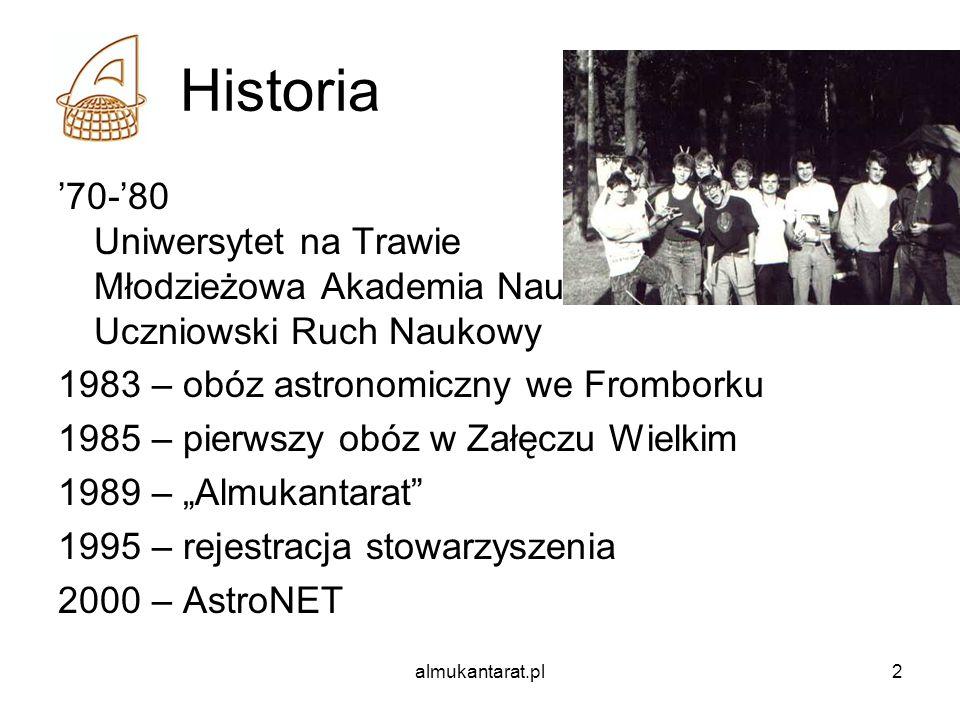 Historia '70-'80 Uniwersytet na Trawie Młodzieżowa Akademia Nauk Uczniowski Ruch Naukowy. 1983 – obóz astronomiczny we Fromborku.