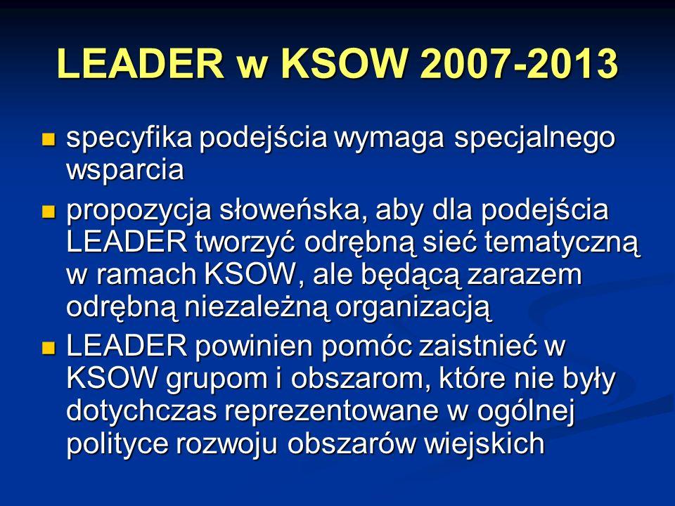 LEADER w KSOW 2007-2013 specyfika podejścia wymaga specjalnego wsparcia.