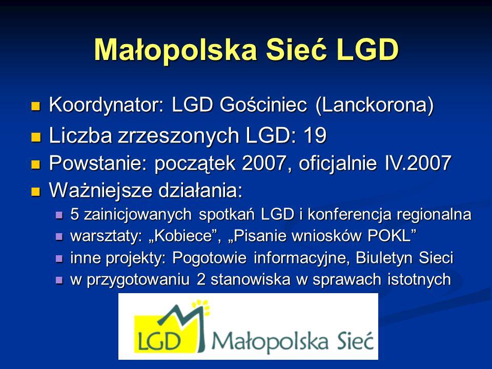 Małopolska Sieć LGD Liczba zrzeszonych LGD: 19