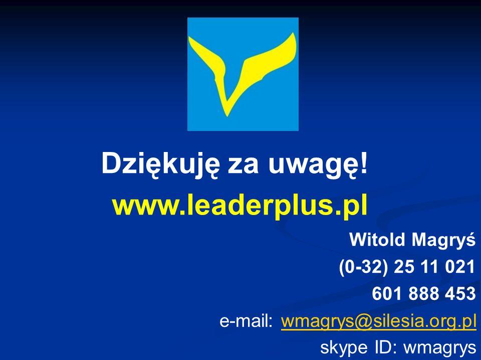 Dziękuję za uwagę! www.leaderplus.pl Witold Magryś (0-32) 25 11 021