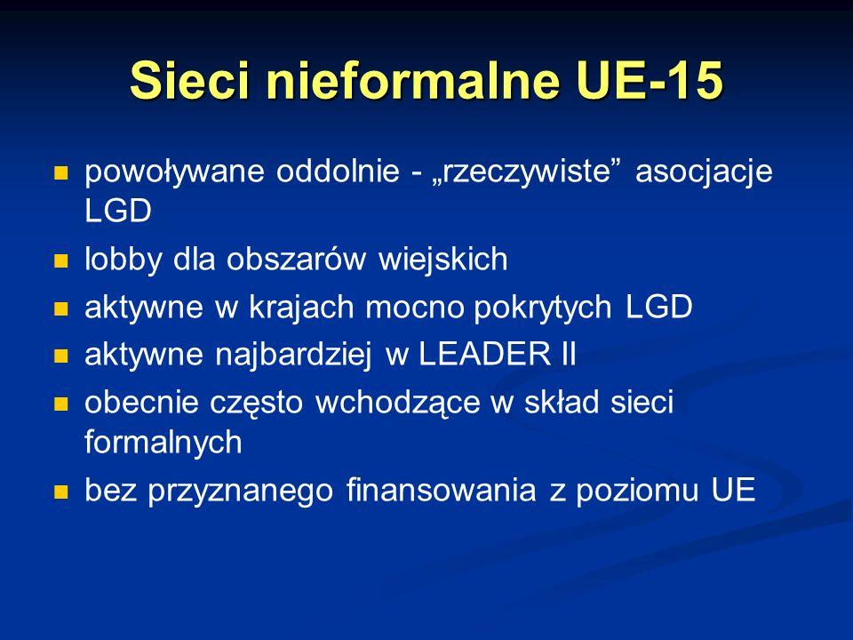 """Sieci nieformalne UE-15 powoływane oddolnie - """"rzeczywiste asocjacje LGD. lobby dla obszarów wiejskich."""
