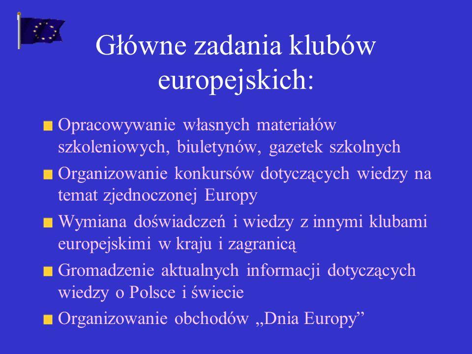 Główne zadania klubów europejskich: