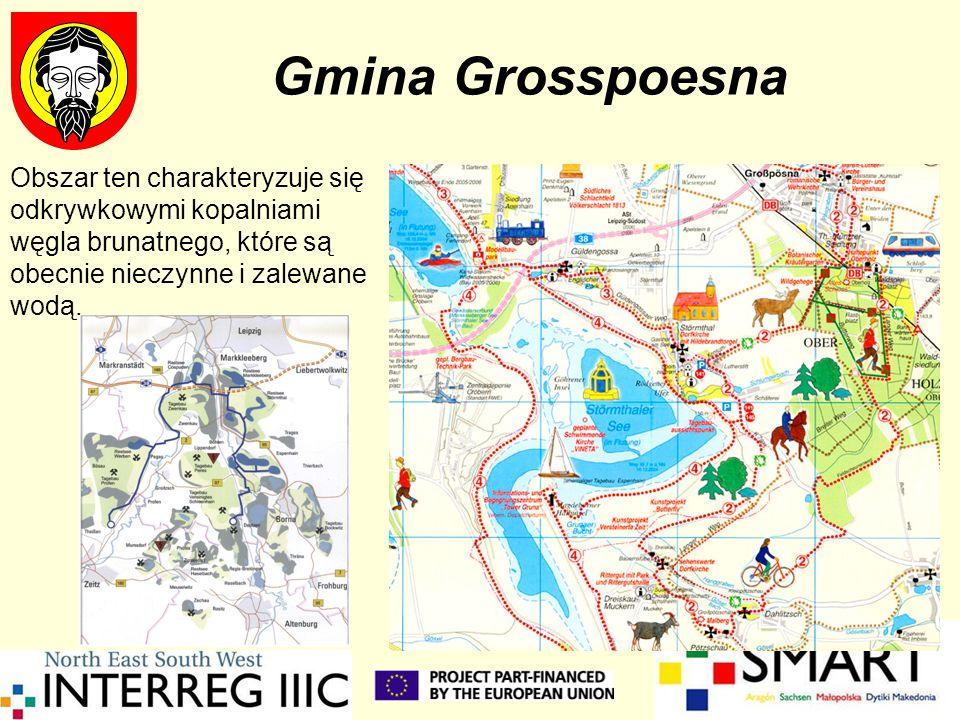 Gmina GrosspoesnaObszar ten charakteryzuje się odkrywkowymi kopalniami węgla brunatnego, które są obecnie nieczynne i zalewane wodą.