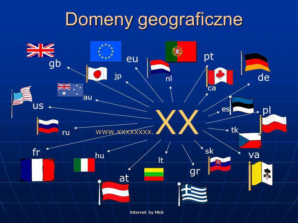 Domeny geograficzne pt eu gb de us pl fr va gr at jp nl ca au