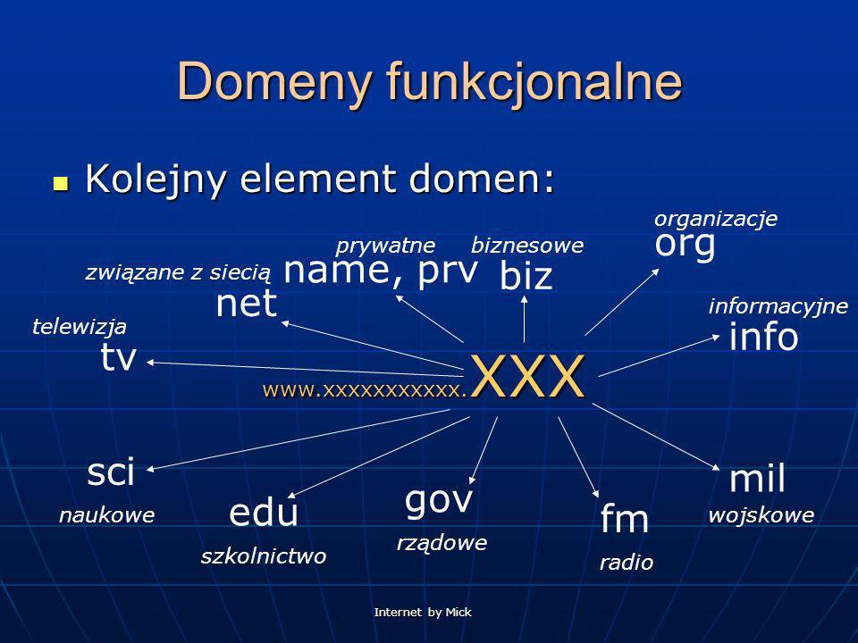 Domeny funkcjonalne Kolejny element domen: org name, prv biz net info