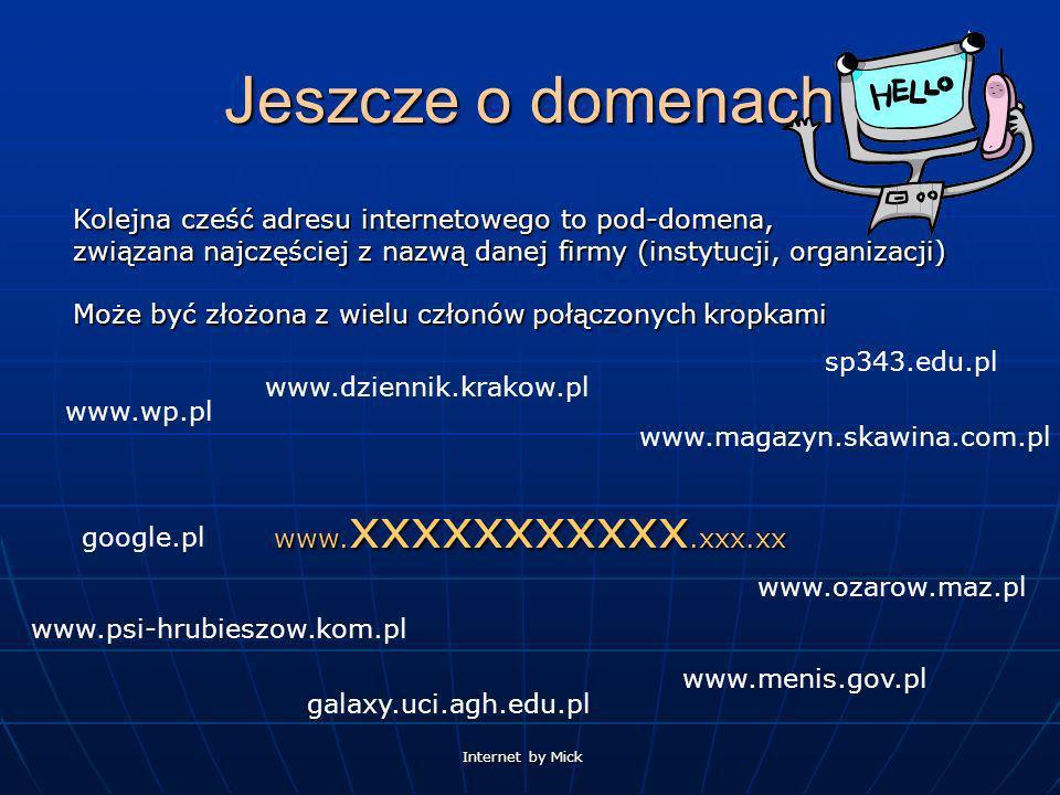 Jeszcze o domenach Kolejna cześć adresu internetowego to pod-domena, związana najczęściej z nazwą danej firmy (instytucji, organizacji)