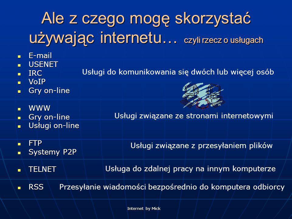 Ale z czego mogę skorzystać używając internetu… czyli rzecz o usługach