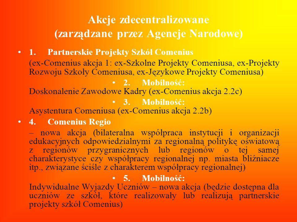 Akcje zdecentralizowane (zarządzane przez Agencje Narodowe)