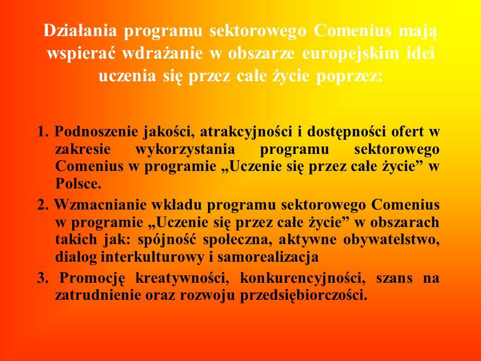 Działania programu sektorowego Comenius mają wspierać wdrażanie w obszarze europejskim idei uczenia się przez całe życie poprzez: