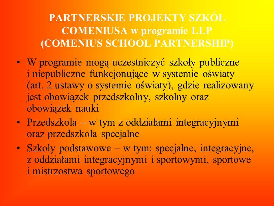 PARTNERSKIE PROJEKTY SZKÓŁ COMENIUSA w programie LLP (COMENIUS SCHOOL PARTNERSHIP)
