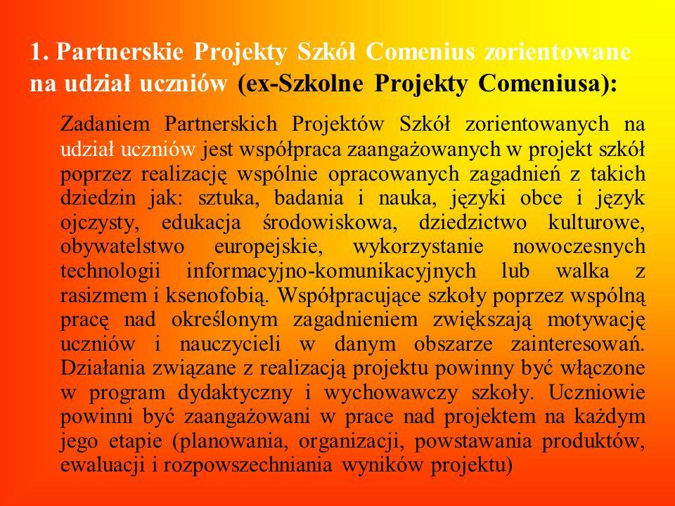 1. Partnerskie Projekty Szkół Comenius zorientowane na udział uczniów (ex-Szkolne Projekty Comeniusa):