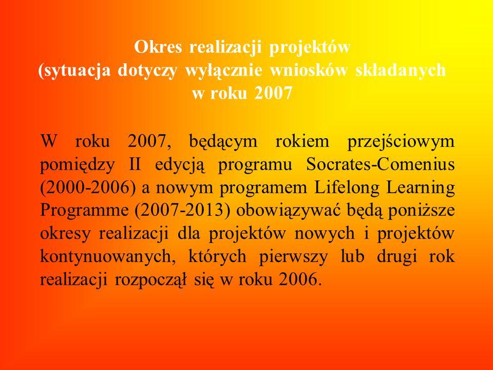 Okres realizacji projektów (sytuacja dotyczy wyłącznie wniosków składanych w roku 2007
