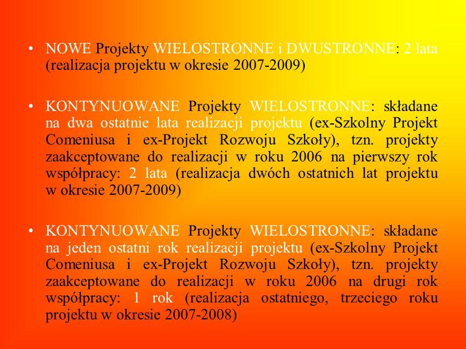NOWE Projekty WIELOSTRONNE i DWUSTRONNE: 2 lata (realizacja projektu w okresie 2007-2009)