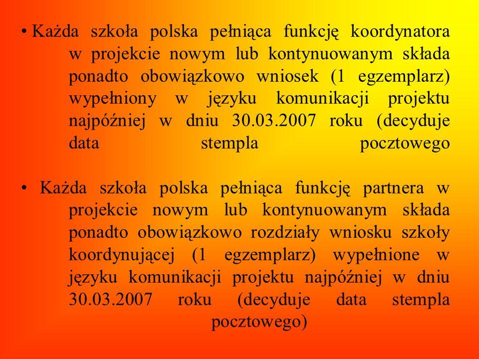 Każda szkoła polska pełniąca funkcję koordynatora