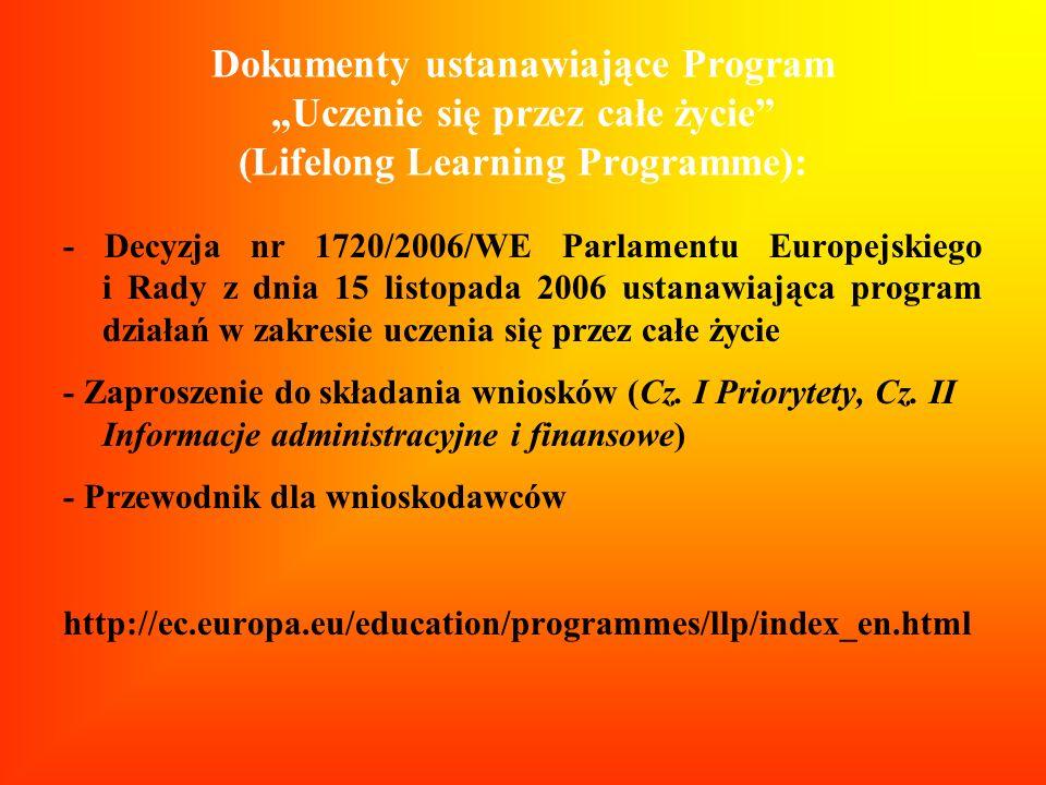 """Dokumenty ustanawiające Program """"Uczenie się przez całe życie (Lifelong Learning Programme):"""