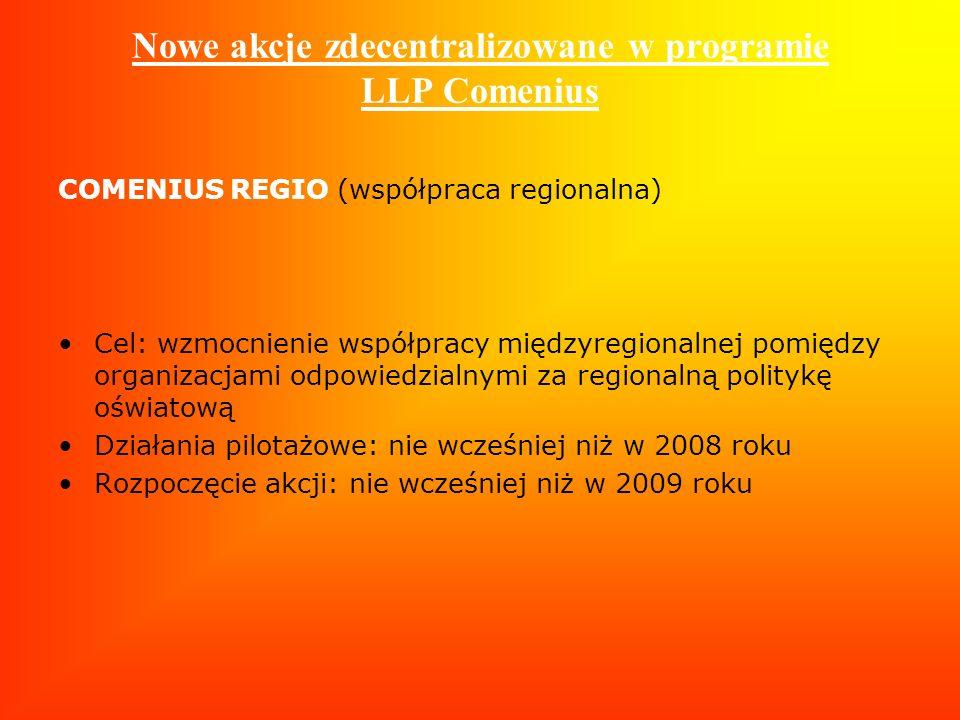 Nowe akcje zdecentralizowane w programie LLP Comenius