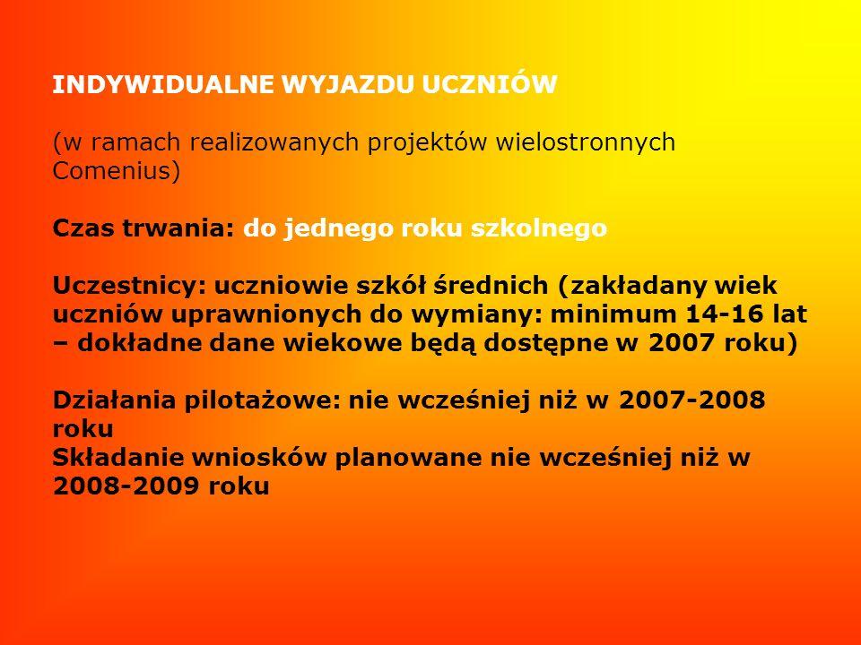 INDYWIDUALNE WYJAZDU UCZNIÓW (w ramach realizowanych projektów wielostronnych Comenius) Czas trwania: do jednego roku szkolnego Uczestnicy: uczniowie szkół średnich (zakładany wiek uczniów uprawnionych do wymiany: minimum 14-16 lat – dokładne dane wiekowe będą dostępne w 2007 roku) Działania pilotażowe: nie wcześniej niż w 2007-2008 roku Składanie wniosków planowane nie wcześniej niż w 2008-2009 roku