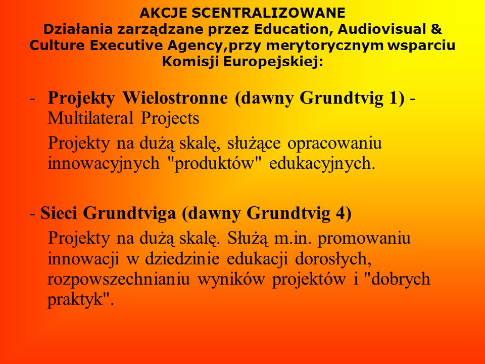 Projekty Wielostronne (dawny Grundtvig 1) - Multilateral Projects