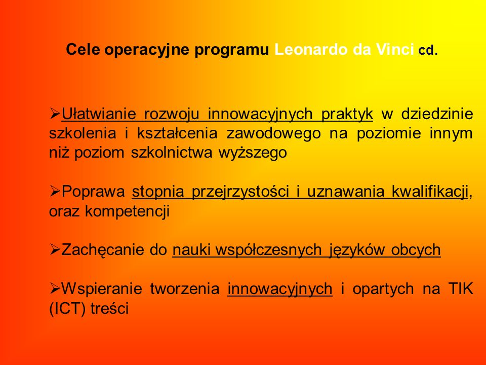 Cele operacyjne programu Leonardo da Vinci cd.