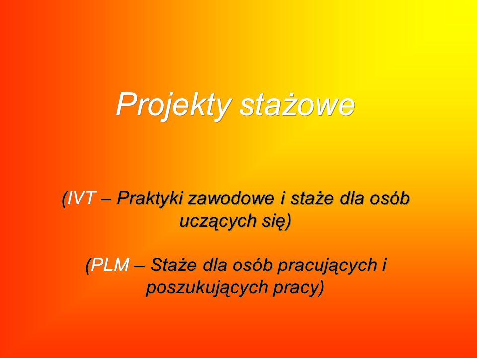 Projekty stażowe (IVT – Praktyki zawodowe i staże dla osób uczących się) (PLM – Staże dla osób pracujących i poszukujących pracy)
