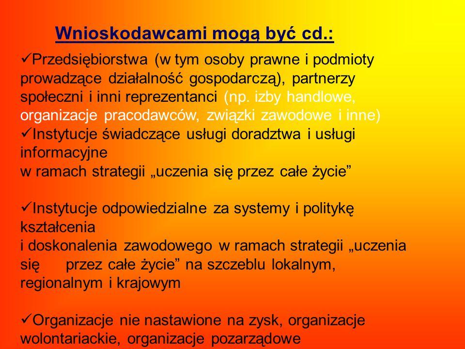 Wnioskodawcami mogą być cd.: