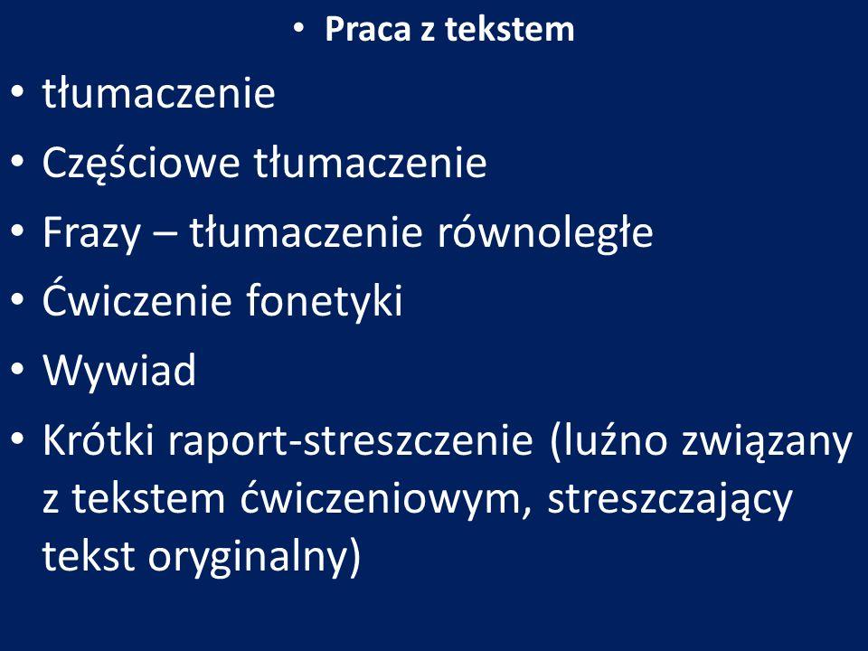 Częściowe tłumaczenie Frazy – tłumaczenie równoległe