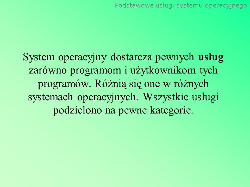 System operacyjny dostarcza pewnych usług zarówno programom i użytkownikom tych programów.