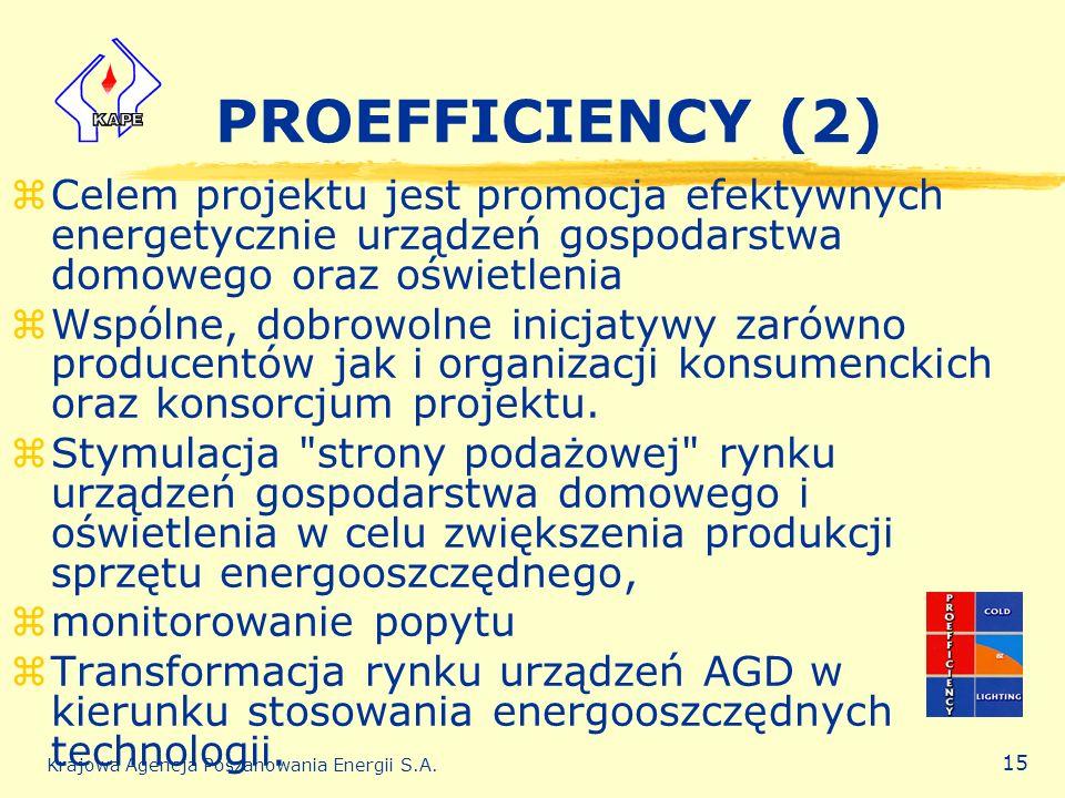PROEFFICIENCY (2) Celem projektu jest promocja efektywnych energetycznie urządzeń gospodarstwa domowego oraz oświetlenia.