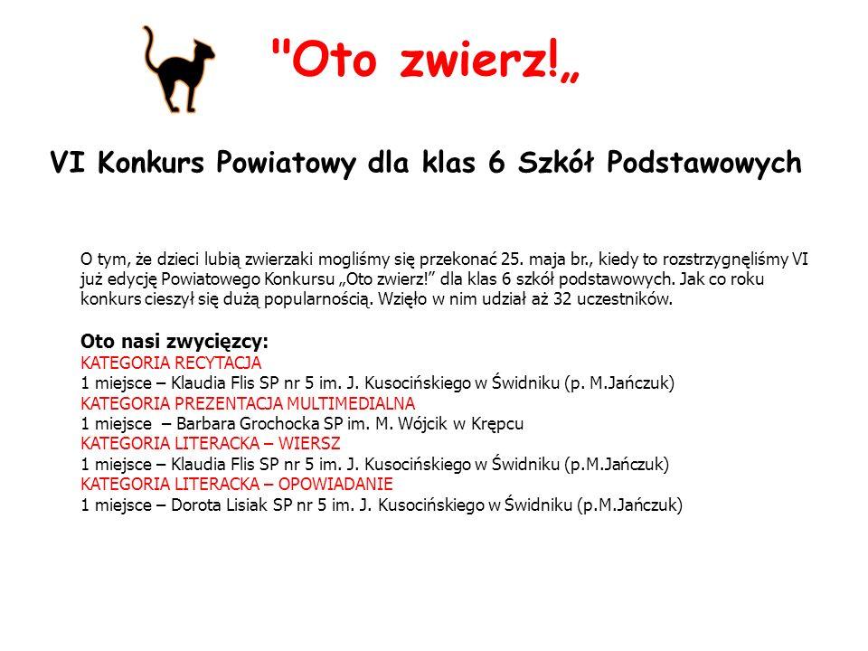 VI Konkurs Powiatowy dla klas 6 Szkół Podstawowych