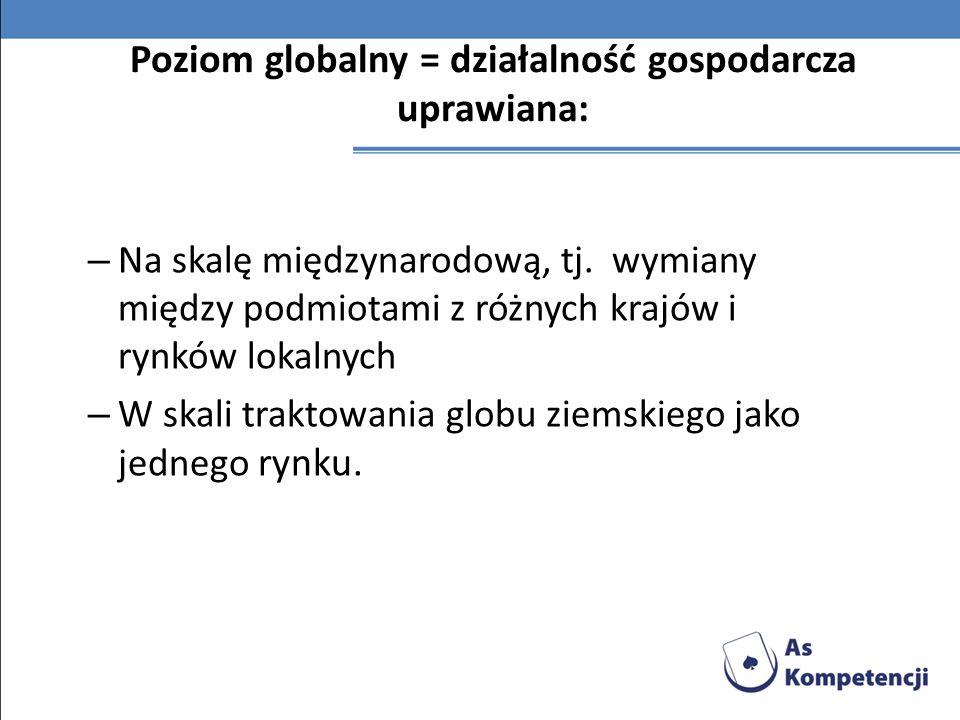 Poziom globalny = działalność gospodarcza uprawiana: