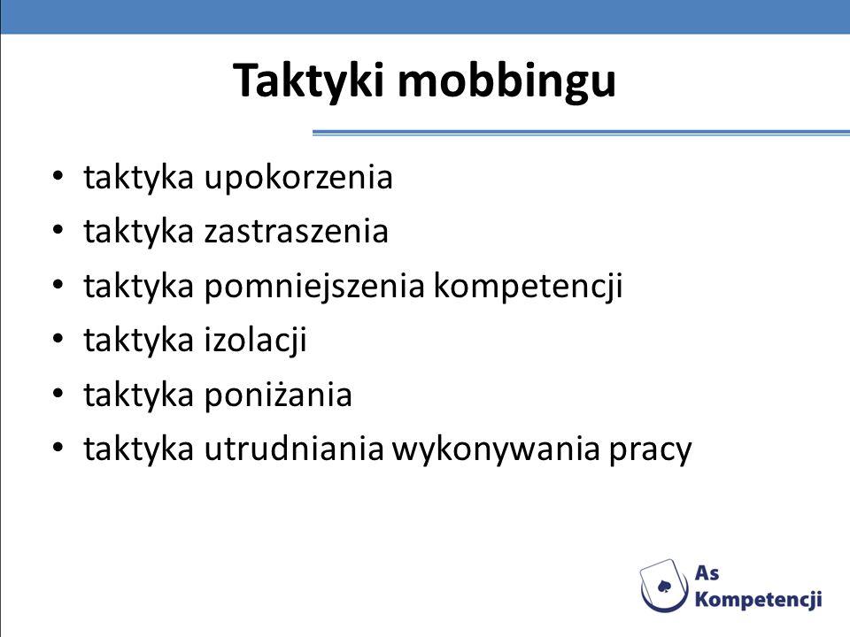 Taktyki mobbingu taktyka upokorzenia taktyka zastraszenia