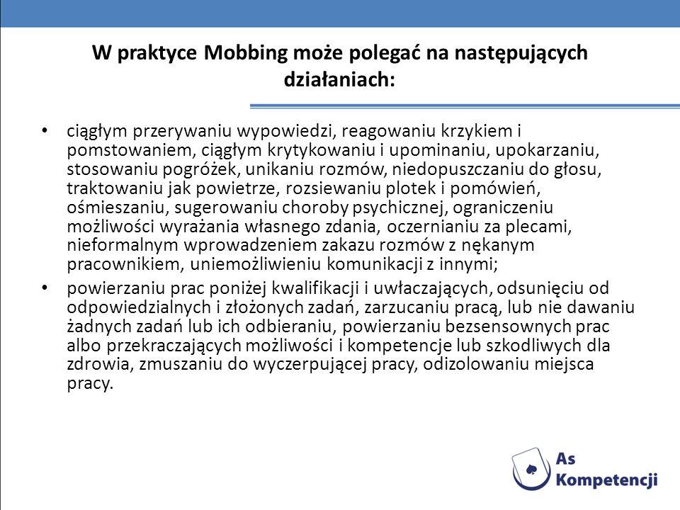 W praktyce Mobbing może polegać na następujących działaniach: