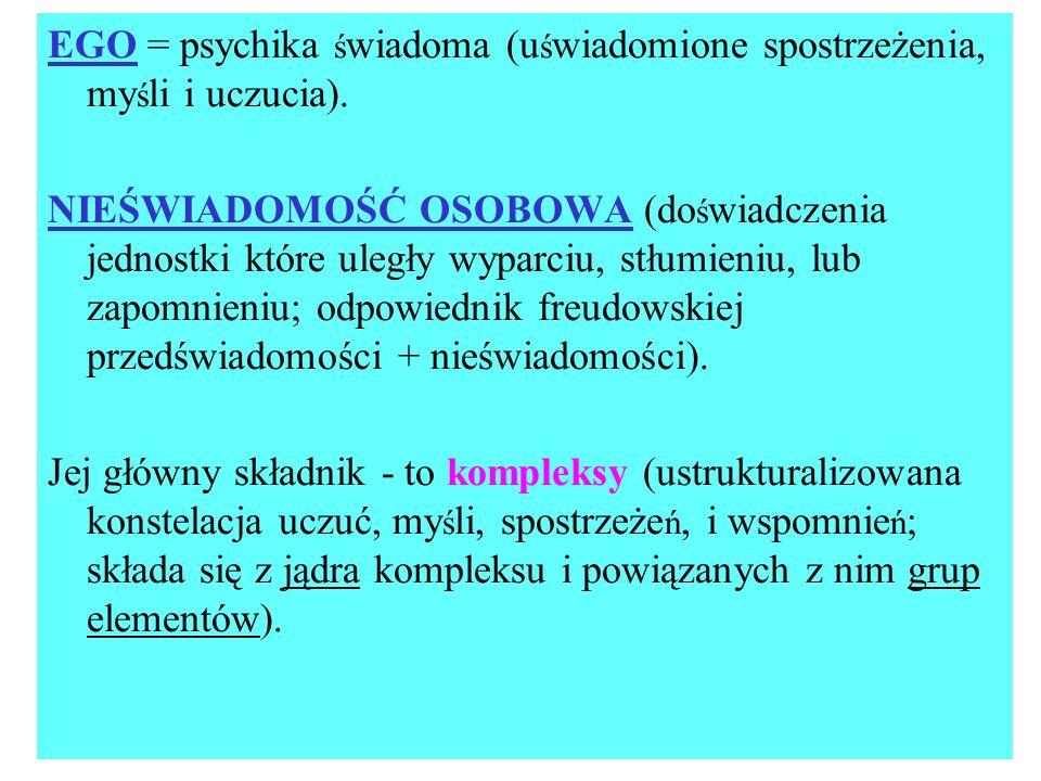 EGO = psychika świadoma (uświadomione spostrzeżenia, myśli i uczucia).