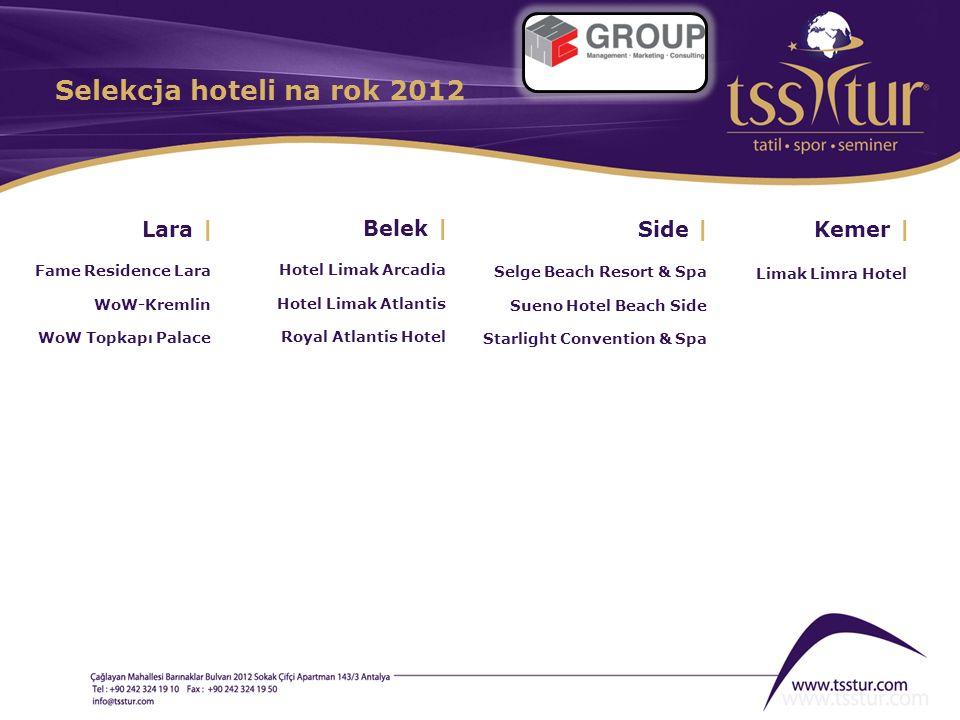Selekcja hoteli na rok 2012 Lara | Belek | Side | Kemer |