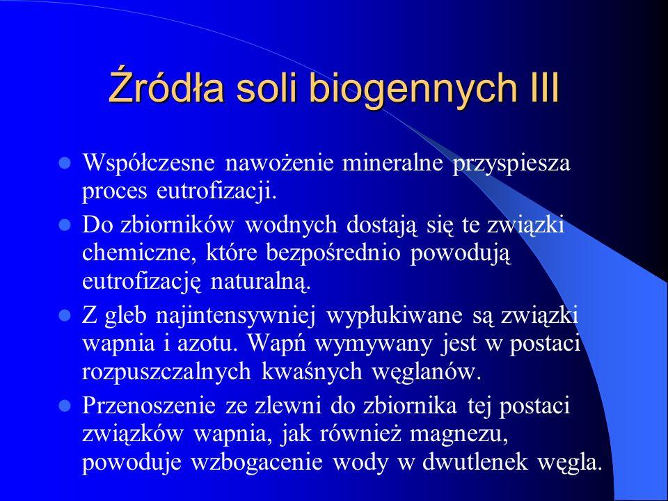 Źródła soli biogennych III