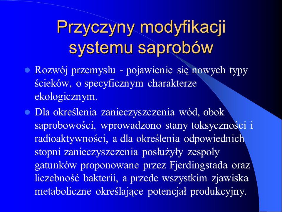 Przyczyny modyfikacji systemu saprobów