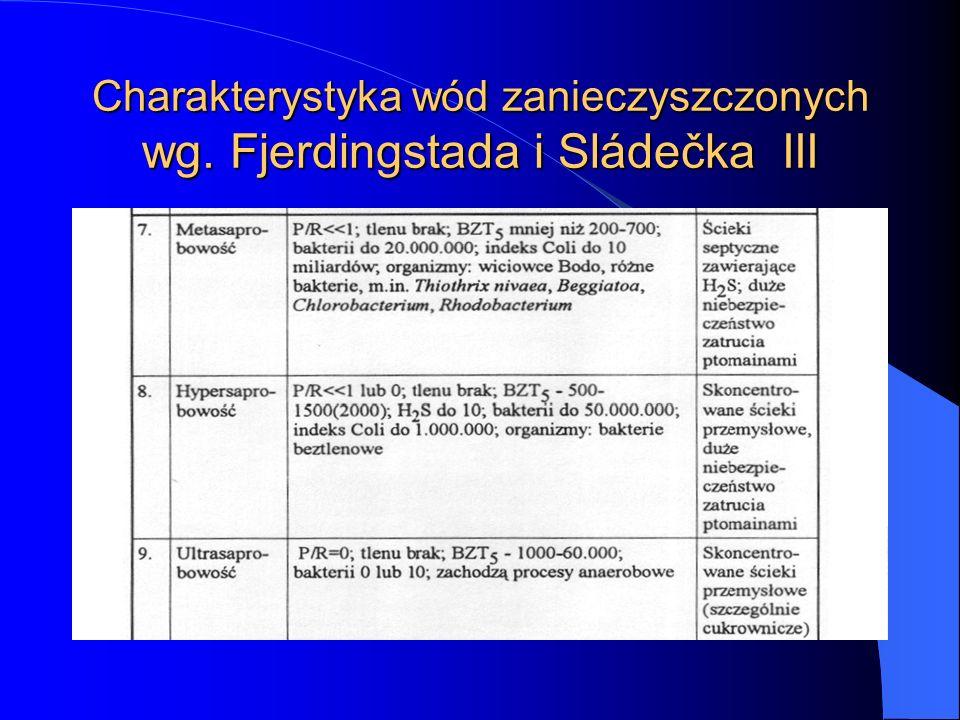 Charakterystyka wód zanieczyszczonych wg. Fjerdingstada i Sládečka III