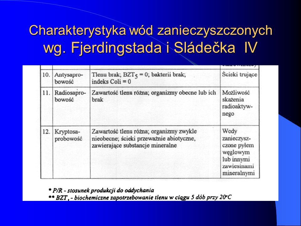 Charakterystyka wód zanieczyszczonych wg. Fjerdingstada i Sládečka IV