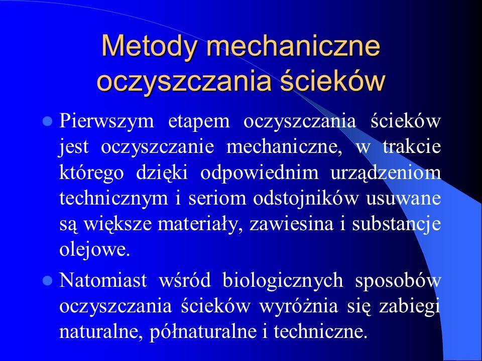Metody mechaniczne oczyszczania ścieków