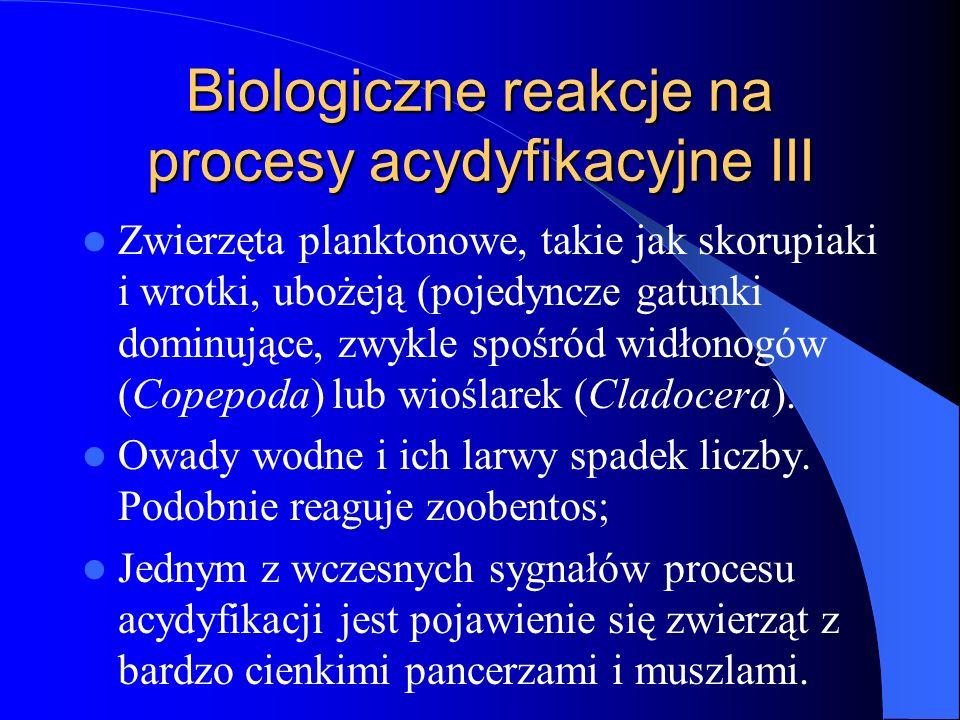 Biologiczne reakcje na procesy acydyfikacyjne III