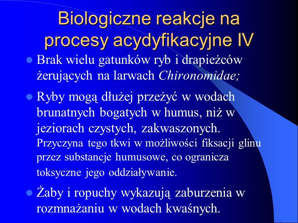 Biologiczne reakcje na procesy acydyfikacyjne IV
