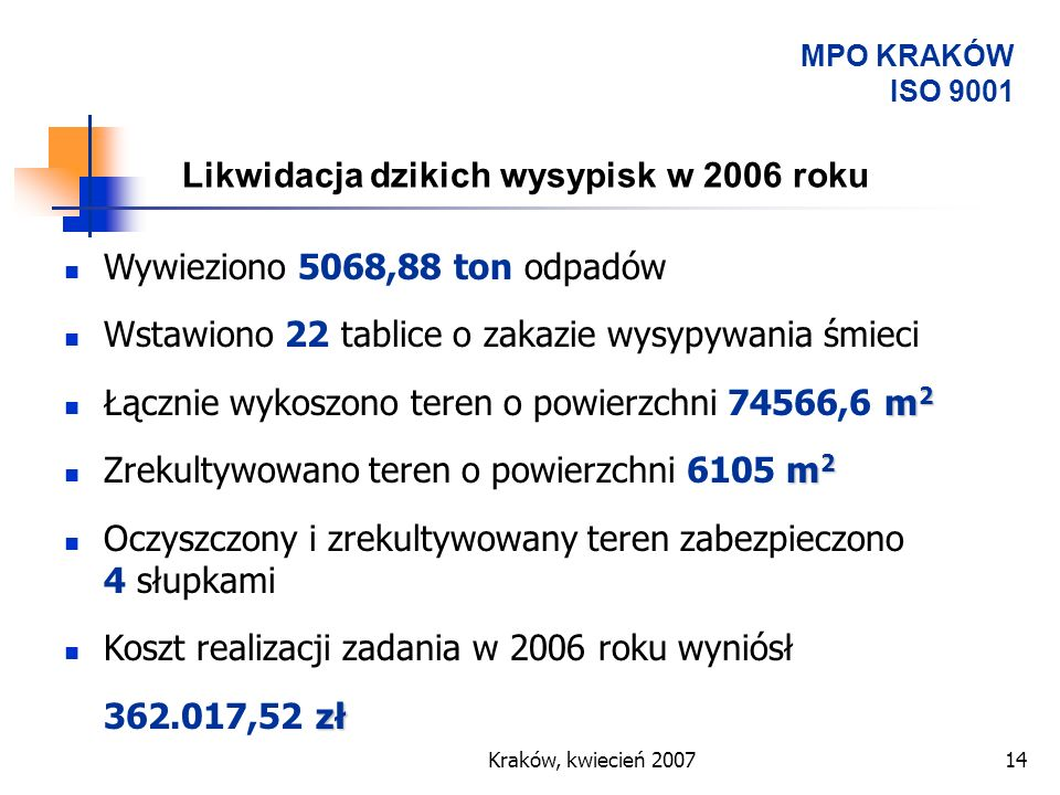 Likwidacja dzikich wysypisk w 2006 roku