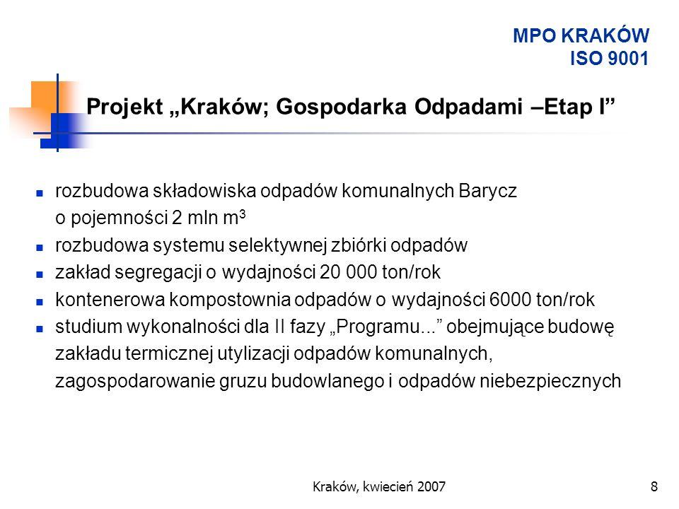 """Projekt """"Kraków; Gospodarka Odpadami –Etap I"""