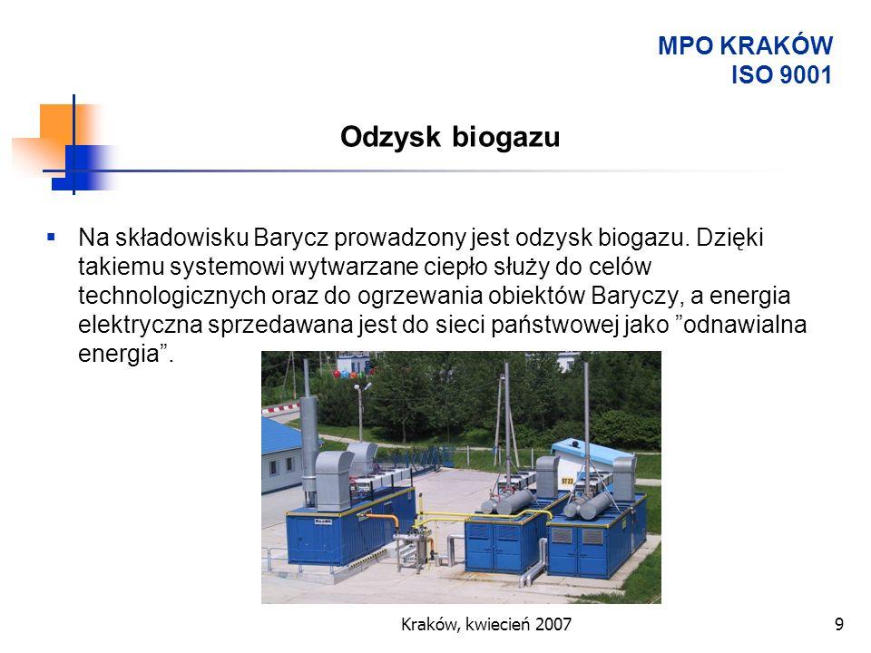Odzysk biogazu MPO KRAKÓW ISO 9001