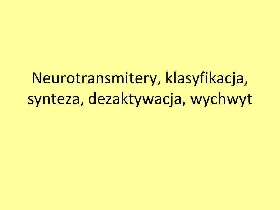 Neurotransmitery, klasyfikacja, synteza, dezaktywacja, wychwyt