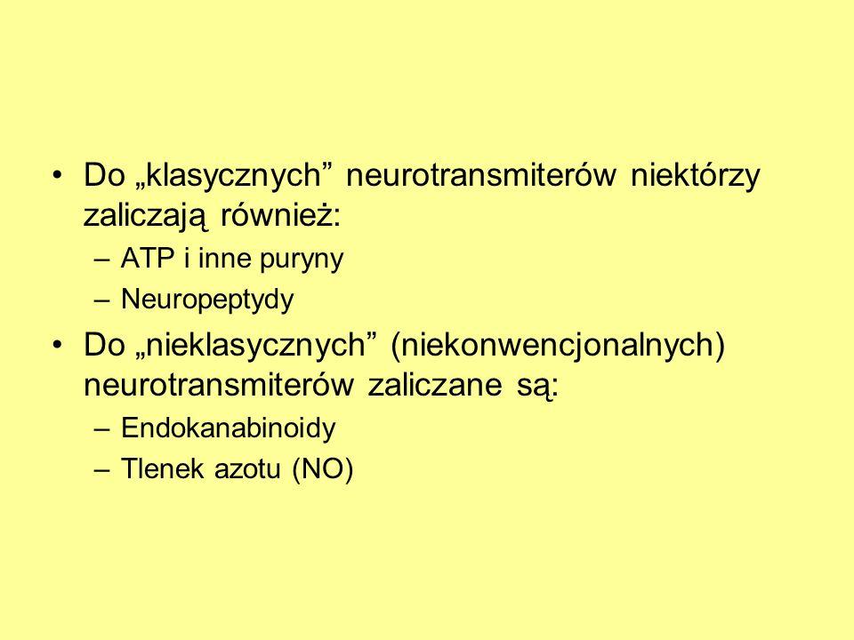 """Do """"klasycznych neurotransmiterów niektórzy zaliczają również:"""