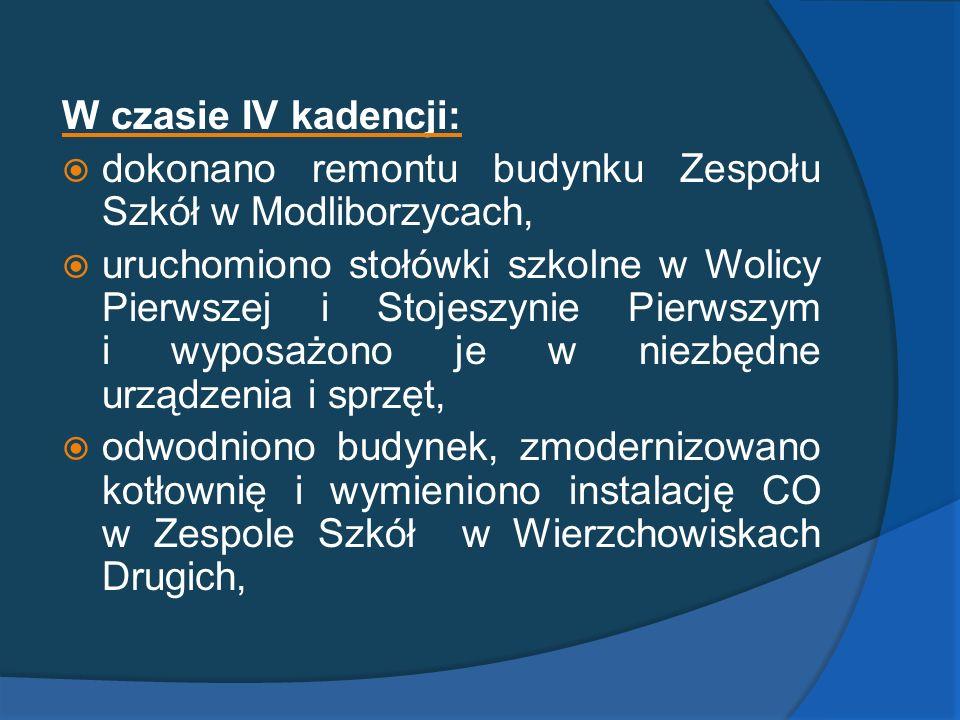 W czasie IV kadencji: dokonano remontu budynku Zespołu Szkół w Modliborzycach,